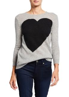 Neiman Marcus Cashmere Heart Intarsia Pullover