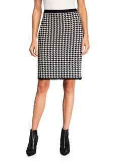 Neiman Marcus Cashmere Houndstooth Fringe Skirt