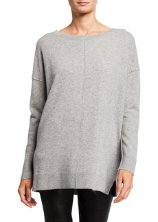 Neiman Marcus Cashmere Inverse Seamed Oversized Pullover