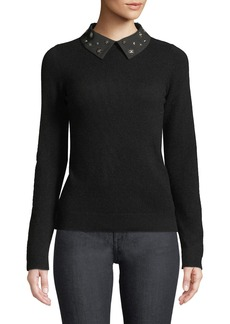 Neiman Marcus Cashmere Jeweled Collar Pullover Sweater