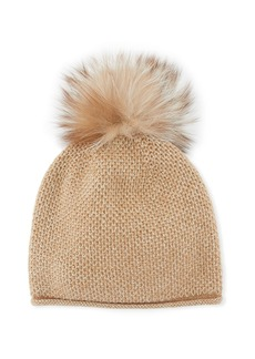 Neiman Marcus Cashmere-Knit Honeycomb Beanie with Fox Fur Pompom