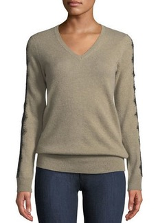 Neiman Marcus Cashmere Lace-Detail Sweater