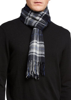 Neiman Marcus Cashmere Large Check Plaid Scarf