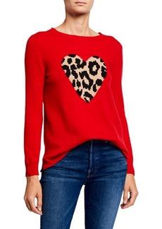 Neiman Marcus Cashmere Leopard Heart Sweater