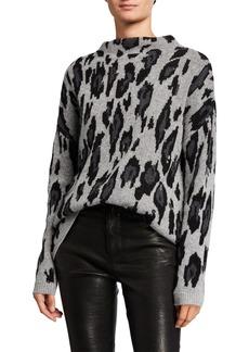 Neiman Marcus Cashmere Leopard Mock-Neck Sweater