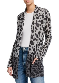 Neiman Marcus Cashmere Leopard-Print Open Cardigan with Pockets