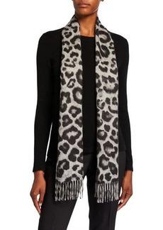 Neiman Marcus Cashmere Leopard-Print Scarf