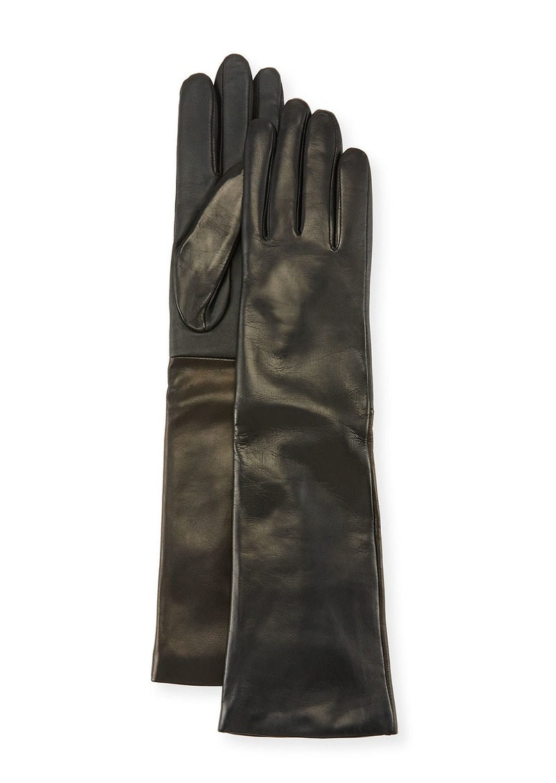 Neiman Marcus Cashmere-Lined Long Leather Tech Gloves  Black