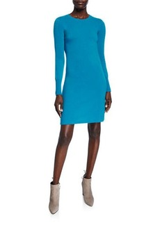 Neiman Marcus Cashmere Long-Sleeve Crewneck Dress