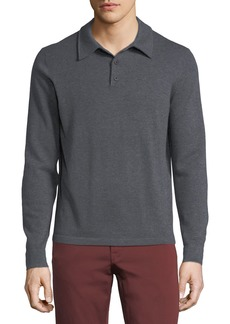 Neiman Marcus Cashmere Long-Sleeve Polo Sweater