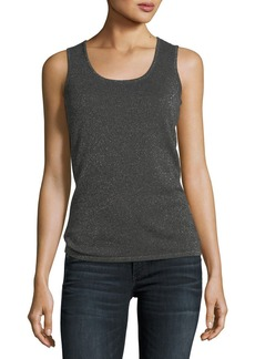 Neiman Marcus Cashmere Metallic Scoop-Neck Tank