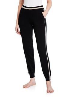 Neiman Marcus Cashmere Metallic-Trim Jogger Pants