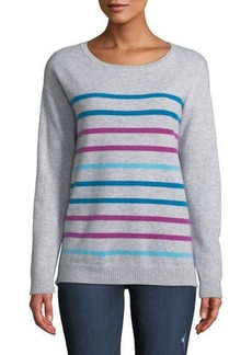 Neiman Marcus Cashmere Multicolor Striped Sweater