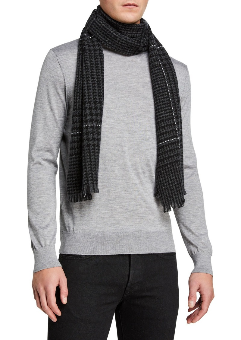 Neiman Marcus Cashmere Off Set Glen Plaid Scarf