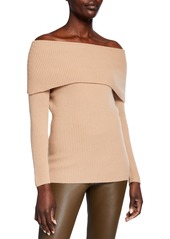 Neiman Marcus Cashmere Off-the-Shoulder Ribbed Pullover Sweater