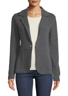 Neiman Marcus Cashmere One-Button Blazer  Grey