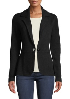 Neiman Marcus Cashmere One-Button Blazer  Black
