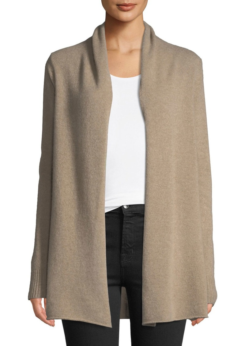bfd20d5bc1b Cashmere Open-Front Computer Cardigan Tan