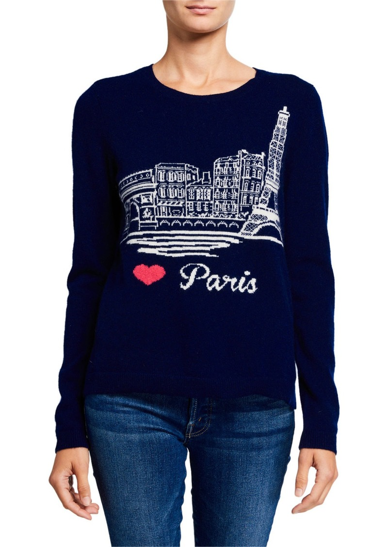 Neiman Marcus Cashmere Paris Intarsia-Print Pullover