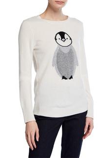Neiman Marcus Cashmere Penguin-Print Sweater