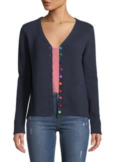 Neiman Marcus Cashmere Pom-Pom Button Front Cardigan