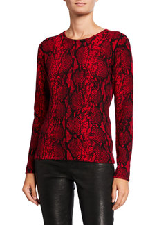 Neiman Marcus Cashmere Python Printed Crewneck Sweater