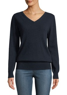 Neiman Marcus Cashmere Relaxed V-Neck Sweater