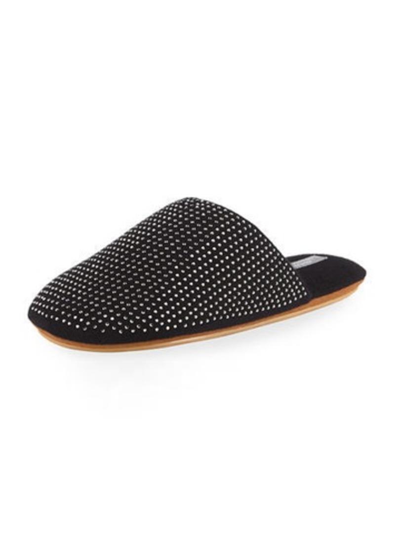 Neiman Marcus Cashmere Rhinestone-Studded Slippers