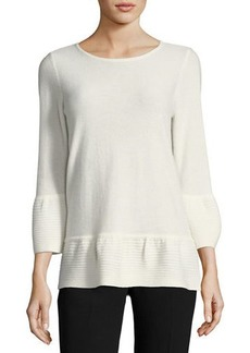 Neiman Marcus Cashmere Ribbed-Bell Sweater