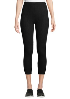 Neiman Marcus Cashmere Ribbed-Knit Leggings