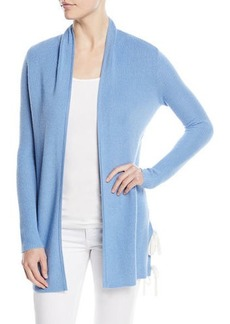 Neiman Marcus Cashmere Ribbed Side-Tie Open-Front Cardigan