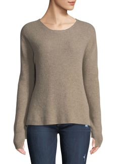 Neiman Marcus Cashmere Ruffle-Sleeve Pullover Sweater