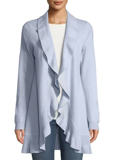 Neiman Marcus Cashmere Ruffled Open-Front Duster Cardigan