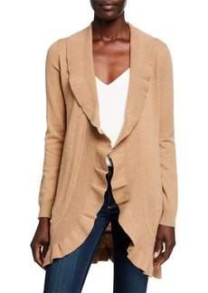 Neiman Marcus Cashmere Ruffled Open-Front Duster Cardigan  Camel