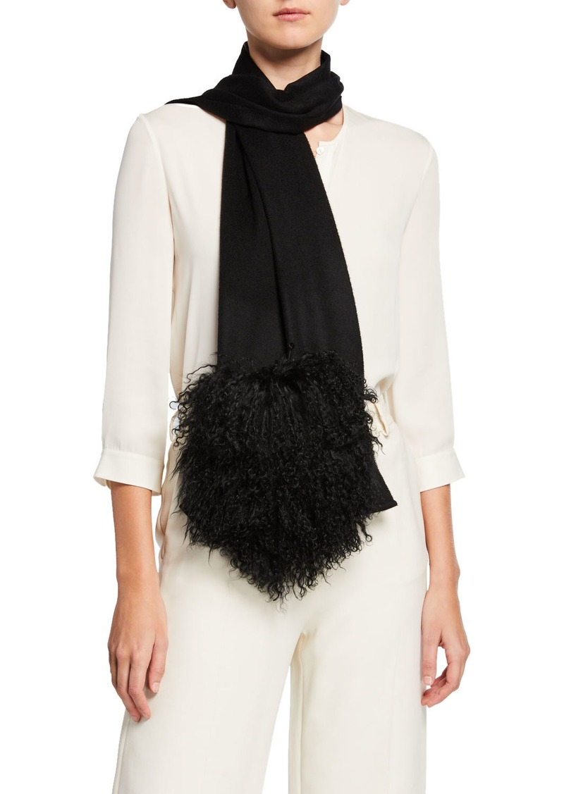 Neiman Marcus Cashmere Scarf with Fur Pockets