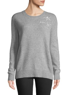 Neiman Marcus Cashmere Sequin-Star Sweater  Gray