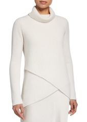 Neiman Marcus Cashmere Shaker Stitch Ribbed Turtleneck Crossover Sweater