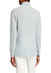 Neiman Marcus Cashmere Sheer Rib-Stitch Turtleneck Sweater