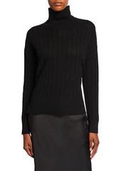 Neiman Marcus Cashmere Sheer Rib-Stitch Turtleneck Sweater