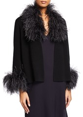 Neiman Marcus Cashmere Short Cardigan with Ostrich Feather Trim