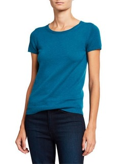 Neiman Marcus Cashmere Short-Sleeve Pullover