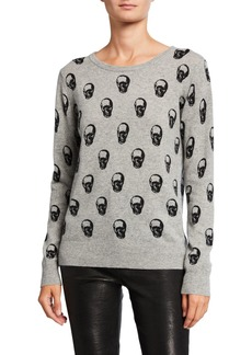 Neiman Marcus Cashmere Skull-Print Pullover