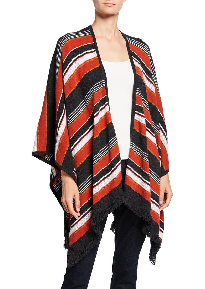 Neiman Marcus Cashmere Striped Open Shawl