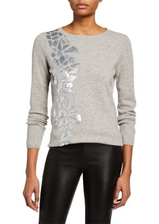 Neiman Marcus Cashmere Sweater with Geometric Sequin Details