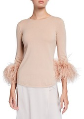Neiman Marcus Cashmere Sweater with Ostrich Feather Cuffs