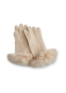 Neiman Marcus Cashmere Tech Gloves w/Fox Fur Cuff