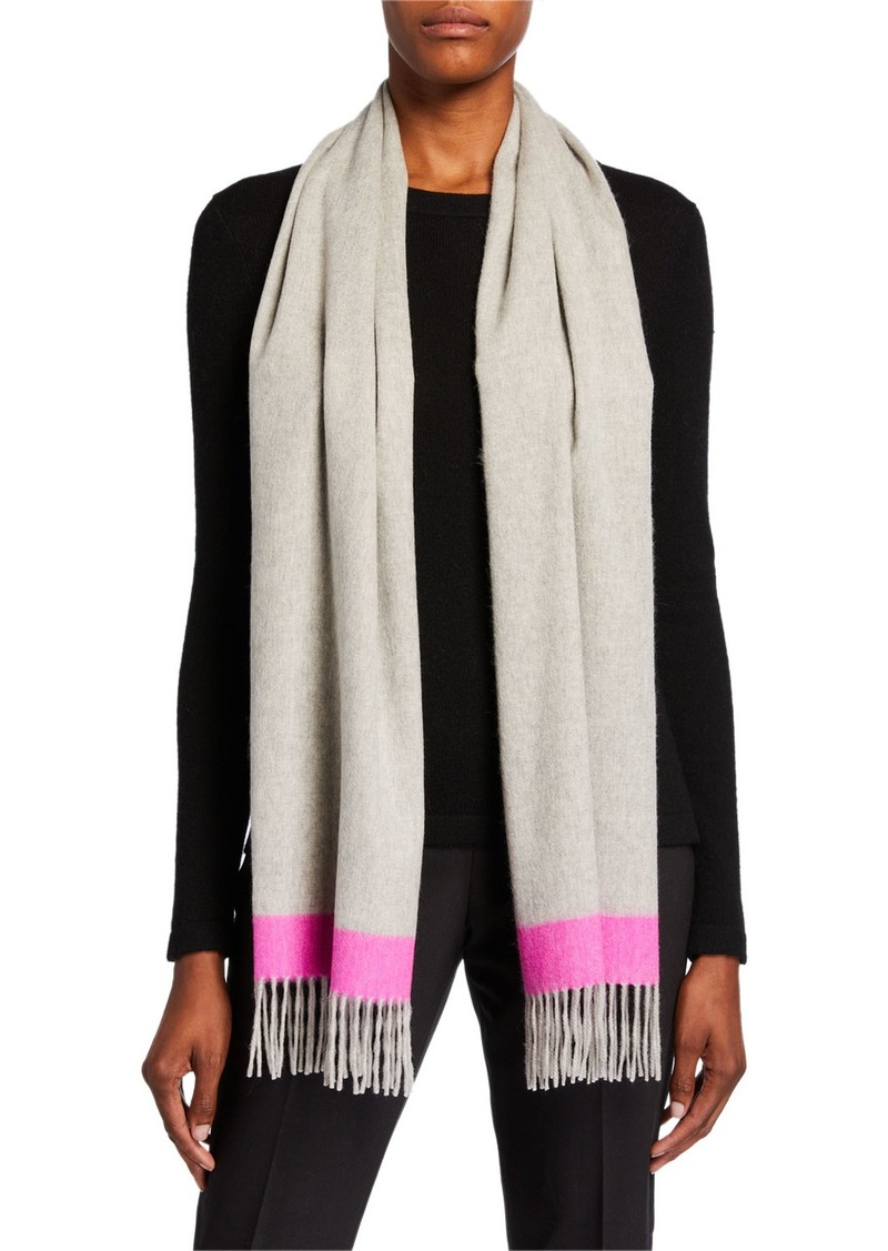 Neiman Marcus Cashmere Tipped Wrap Scarf