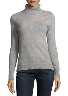 Neiman Marcus Cashmere Turtleneck Cutout Sweater