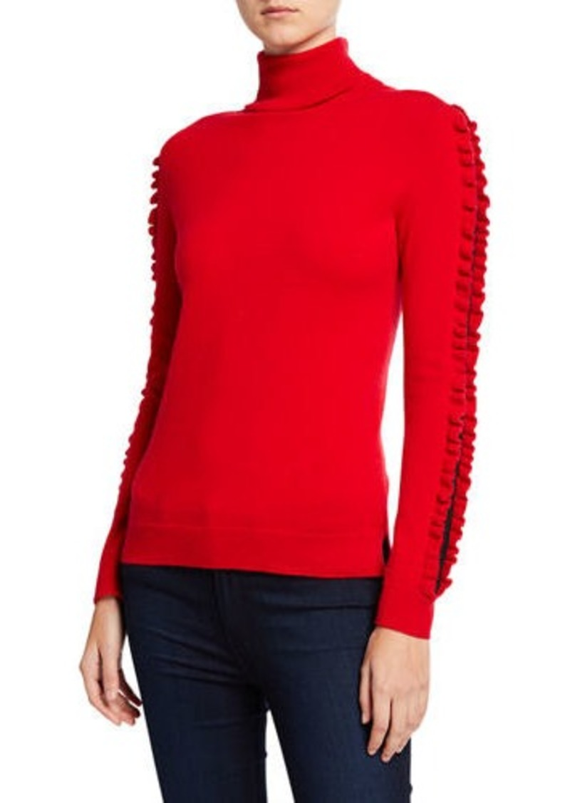 Neiman Marcus Cashmere Turtleneck Sweater Lace Inset Ruffle Detail