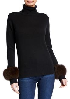 Neiman Marcus Cashmere Turtleneck w/ Fur Cuffs